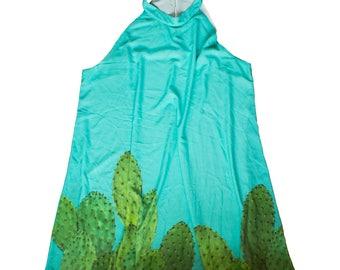 sleeveless cactus shift dress XS - 3XL | aesthetic plants cacti succulents hipster kawaii cute plus size southwestern western XL 2XL grunge