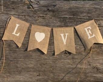 LOVE hessian banner. Burlap wedding decor.Country barn wedding decor. Vintage wedding