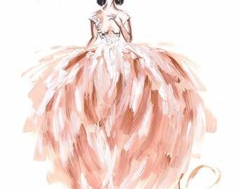 Bridal portrait, Fashion bridal art, Bride portrait, Fashion illustration, Bride sketch, Fashion sketch, Gift for bride, Bride painting