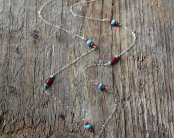 Red Coral and Turquoise AMERICANA Beaded Chain Necklace-Sterling Silver