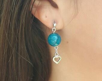 Silver Heart earrings, turquoise earrings, dragon vein agate, sterling silver heart earrings, post earrings, dangle earrings, heart earrings