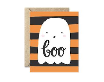 Ghost Halloween Card, Orange and Black Stripes, Boo