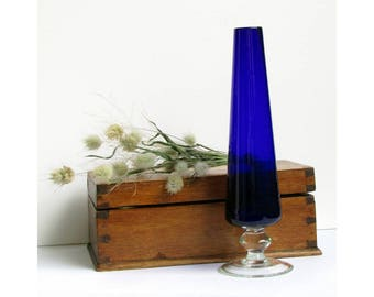 Vintage blue glass vase - hand blown on clear stem - stunning stylish deepest cobalt Bristol blue studio art glass bud vase