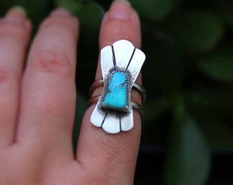 Turquoise Ring, Sterling Silver turquoise Ring, Mexican Turquoise, statement ring,  Blue Turquoise, Mexican Turquoise Jewelry, Gift for Her