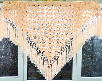 Length - top 200 cm, hand knit crochet shawl wrap - triangle shape, Russian shawl vintage style   m2.04