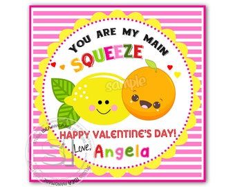 "Valentine's 2.5"" Printable Square Tags-Happy Valentines Personalized Tags, Valentine's ""Squeeze"" printable 2.5""tags -Stickers (You Print)"