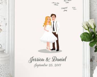 Wedding Guest Book Alternative Custom Couple Portrait Custom Portrait Guest Book Unique Guest Book Personalized Guest Book Customized Couple