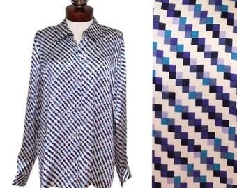 AUSTIN REED geometric printed silk blouse 12