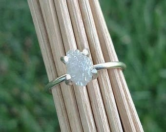 White Gold Engagement Ring Raw Diamond Ring Rough Diamond Ring 14k White Gold Promise Ring Anniversary Ring Uncut Diamond Ring