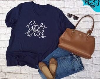 Love Never Fails Handlettered Vneck Shirt, Tee