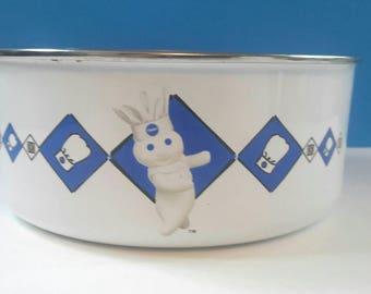Enamel Pillsbury Doughboy Mixing Bowl, Doughboy, Enamel Bowl, Vintage, Made In Thailand, Enamel Mixing Bowl.