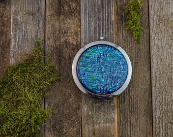 Silver Compact Mirror/Pocket Mirror/Cosmetic/Dicrhoic Glass/Unique Gift/Wedding Gift/Fused Glass/Rainbow/ Jewelry/ Handmade Art/ Glass Art