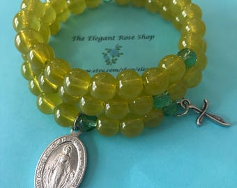 Beautiful Rosary Wrap Bracelet in Yellow and Green