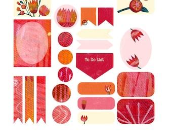 Flowers Planner Stickers 35 piece set , Journals , Calendar , reminder , Labels , Teens , Adults