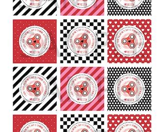 Fidget Spinner Valentine, Printable Valentines, Valentine tags, Valentine Stickers, Personalized Valentine tags, Kids Valentines, custom tag