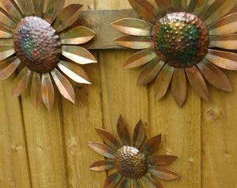 Copper sunflowers wall hanging garden art