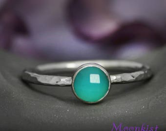 Ocean Blue Rose Cut Stacking Ring In Sterling - Silver Petite Gem Statement Ring - Ocean Blue Chalcedony Promise Ring - Gift For Her
