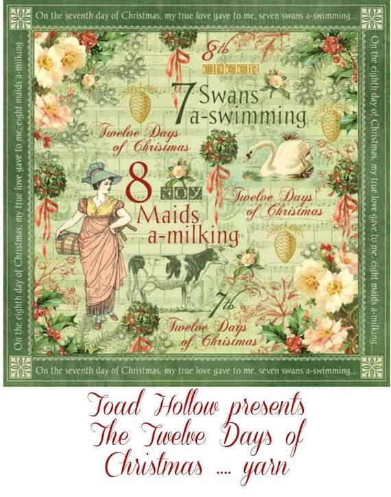 Hand dyed yarn, Twelve Days of Christmas yarn,12 days of yarn,Christmas yarn club,gift for yarn lovers,Toad Hollow Yarns,Holiday yarn club