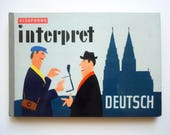 Mid Century German Visaphone Interpret Deutsch Language and Cultural Guidebook with Fantastic Color Illustrations