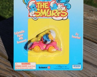 1996 The Smurfs Smurfette Figure With Car, New Old Stock