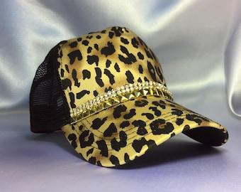 Women's Black And Brown Leopard Trucker Hat. Gold Hat. Bling Hat. Rhinestone Cap. Ladies Trucker Hat. Ladies Baseball Cap.