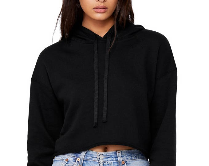 Cropped Long Sleeve Hoddie Black - Wholesale Only - We will print your chosen design!
