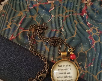 Book Nook, Book Quote Necklace, Quote Necklace, Chobosky Quotre Necklace, The Perks of Being a Wallflower, Literature Necklace, MarjorieMae