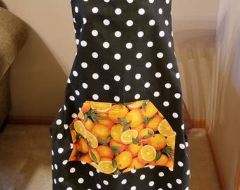 Black and White Dot Orange Pocket Work Apron, Full Apron, Adjustable Strap Apron, Polka Dot, Kitchen Apron, Ready to Ship, MarjorieMae