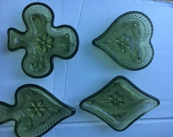 Mossy Green Playing Card Suits Candy or Snack Dishes