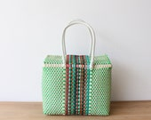 Colorful Handwoven Mexican Bag, Oaxaca Tote, Mexican Plastic Bag, Mexican Basket, Mexican Art, MexiMexi, Picnic Basket