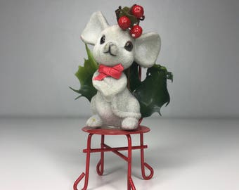 Vintage Christmas mouse on chair
