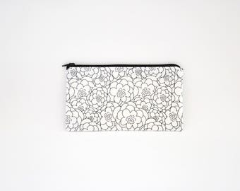 Small Zipper Pouch, Zipper Bag, Makeup Pouch, Cosmetic Pouch, Coin Purse, Bag Storage Organiser - Black & White Floral Sketches