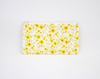 Small Zipper Pouch, Zipper Bag, Makeup Pouch, Cosmetic Pouch, Coin Purse, Bag Storage Organiser - Yellow Floral