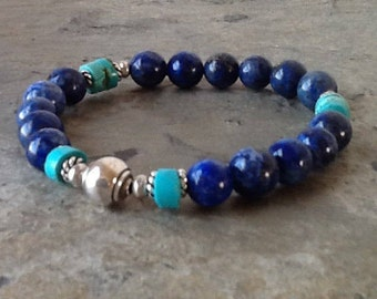 Lapis and Turquoise with Silver Stretch Bracelet