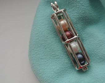 Pearl Cage Tube Pendant Necklace