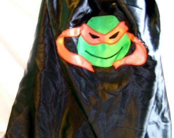 Orange turtle superhero cape, masked turtle, ninja mask, handmade, costume, birthday, christmas, christmas present, dress up, adults cape