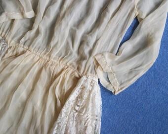 Antique 1920s Silk Chiffon and Chantilly Lace Dress - Drop Waist Lingerie Dress