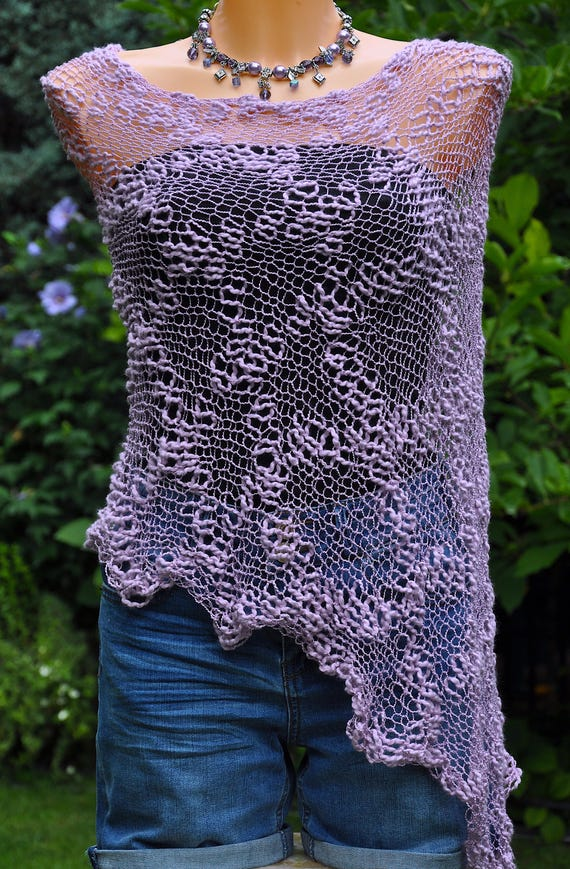 Loose knit Women's poncho, Open weave poncho, Summer knit Shrug, Summer knit wear, Beach cover up, Lila assymetrical handknit womens wrap