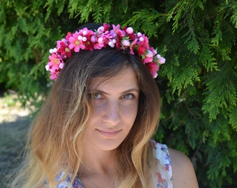 Pink Flower crown Wedding flower crown Wedding flower headband Pink Bridal flower crown Bridal floral head wreath Wedding flower halo