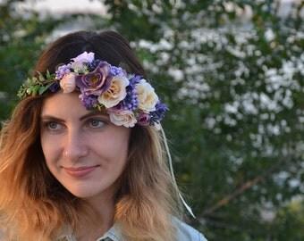 Dusty purple flower crown Beige flower crown Purple flower halo Purple flower headpiece Bridal fascinator Wedding flower headband Purple