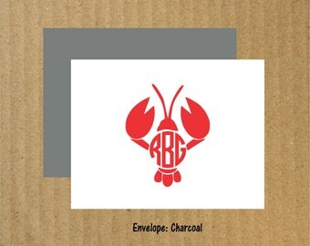 Lobster Monogram Note Cards, Set of 10, Monogram Lobster Note Cards, Lobster, Thank You Cards, Coastal Note Cards, Coastal Monogram