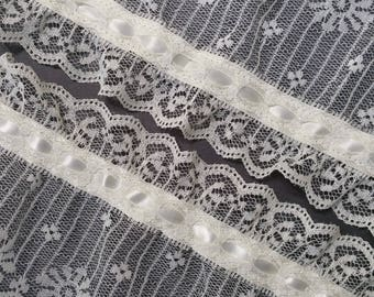 Vintage, 3.5 inch, pale ivory color ruffled lace trim with satin ribbon- 104 inches