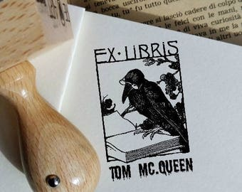Custom Ex Libris Reading Crow.Personalizable Bookplate Rubber Stamp,Wood Bolck Mount Ink Stamp  -1259190717-