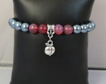 Call Me by Your Name inspired bracelet/Elio and Oliver/Purple Agate/Freshwater Pearls/Peach charm/7.5in