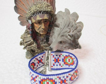 "NATIVE AMERICAN Inspired 'Loom Bead' Cuff Bracelet.  ""Fairgoround"""