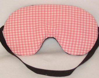 Handmade Pink Gingham Cotton Sleep Eye Mask Blindfold Blackout Migraine Relief
