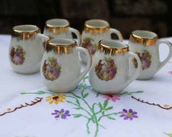 Set of 6x Limoges, French Vintage miniature cups. French Vintage  Shabby Chic.