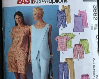 McCalls 3662 - Easy to Sew Summer Top, Shorts, and Petal Pushers - Size 6 8 10 12