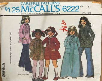McCalls 6222 - 1970s Girl's Tunic, Knee Length or Maxi Length Dress with Raised Waist Option with Peter Pan or Stand Up Collar - Size 8 27""