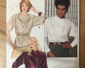 Butterick 6190 - 1980s Loose Fitting Blouse with Standing Collar and Optional Asymmetrical Closing - Size 16 Bust 38